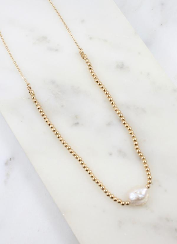 Parady Bead And Link Necklace With Pearl Gold - Caroline Hill