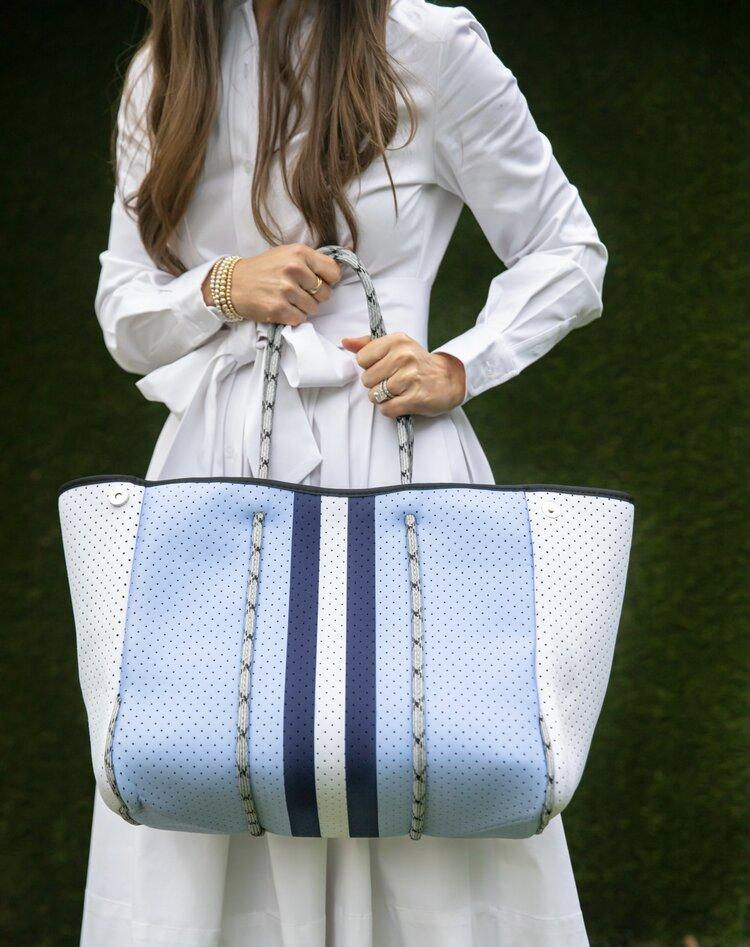 Parker and Hyde Baby Blue and Navy Stripe Tote - Caroline Hill