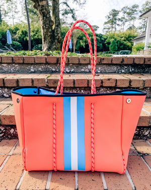 Parker And Hyde Coral Neoprene Tote - Caroline Hill