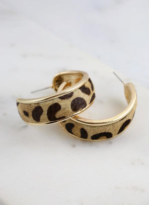 Parsen Thick Animal Print Hoop Brown Leopard - Caroline Hill