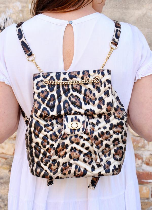 Parvey Champagne Leopard Backpack - Caroline Hill