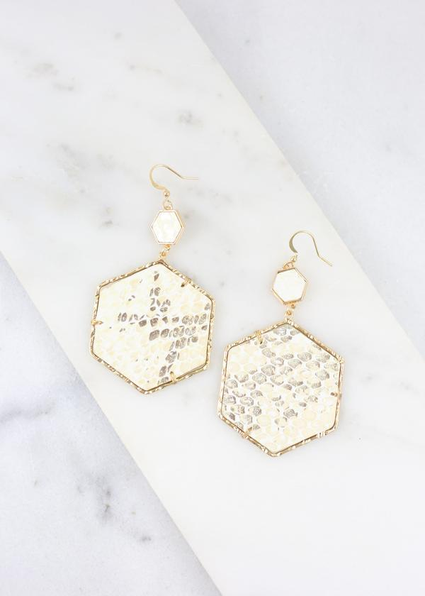 Parvey Metallic Snake Hexagon Earring - Caroline Hill