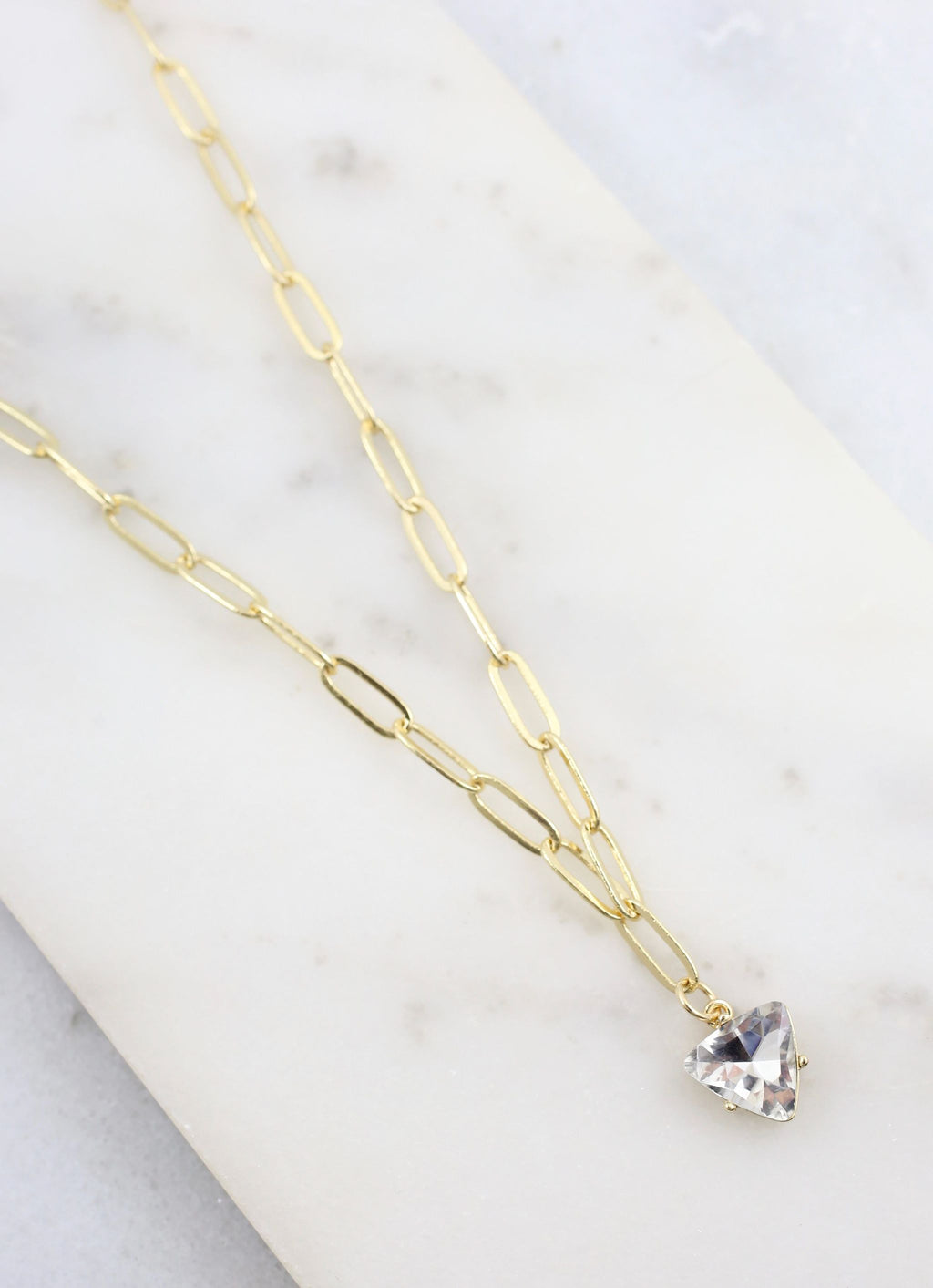 Pate Chain Link Necklace With Cz Pendant Gold - Caroline Hill