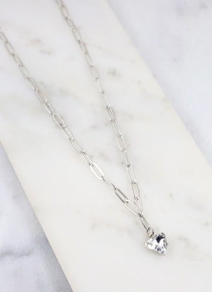 Pate Chain Link Necklace With Cz Pendant Silver - Caroline Hill