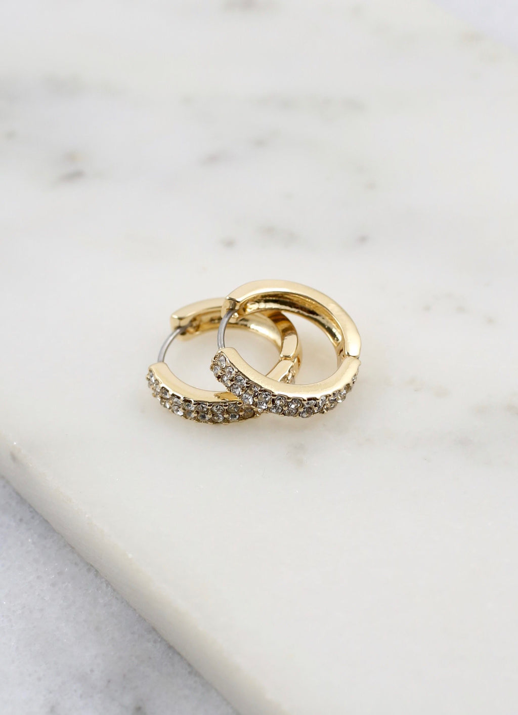Paxton Pave Stone Hoop Gold - Caroline Hill