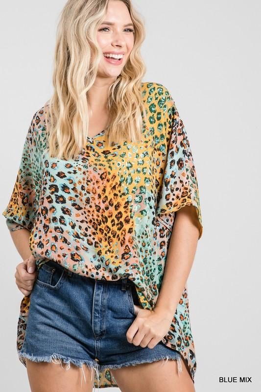 Picture Perfect Blue Mix Printed Top - Caroline Hill