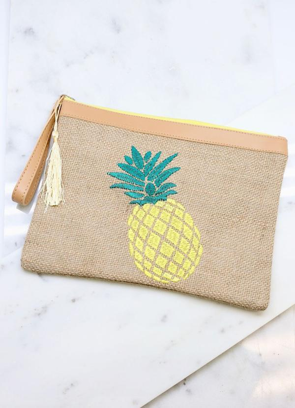 Pineapple Embroidered Jute Pouch Tan - Caroline Hill
