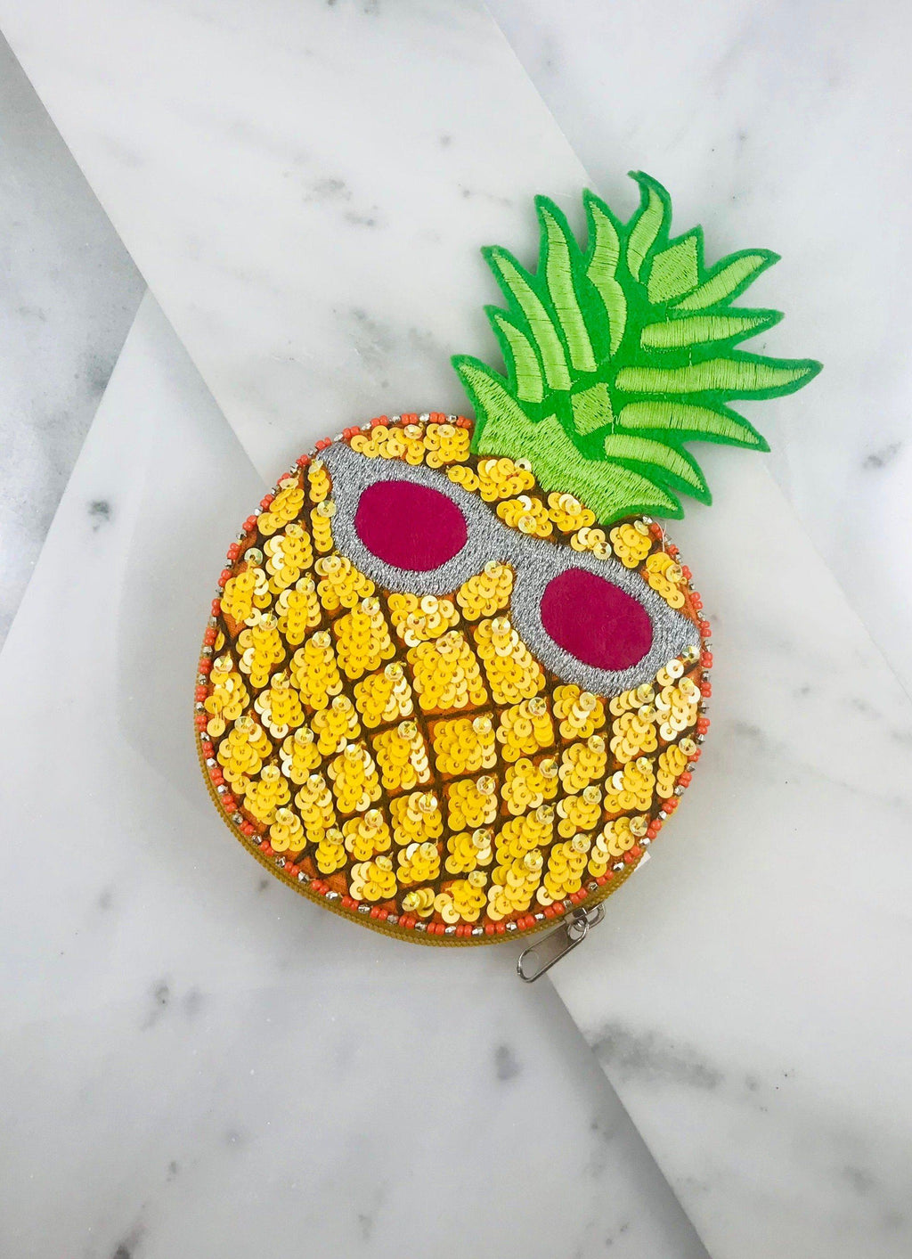 Pineapple With Sunglasses Embellished Pouch Yellow - Caroline Hill