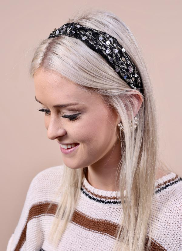 Plaza Sequined Black Headband - Caroline Hill