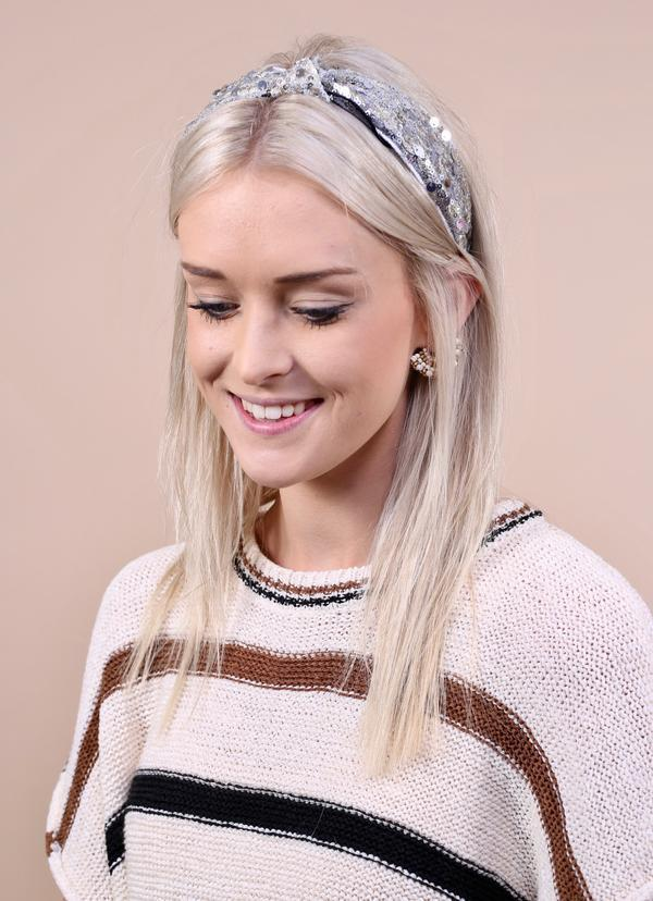 Plaza Sequined Silver Headband - Caroline Hill