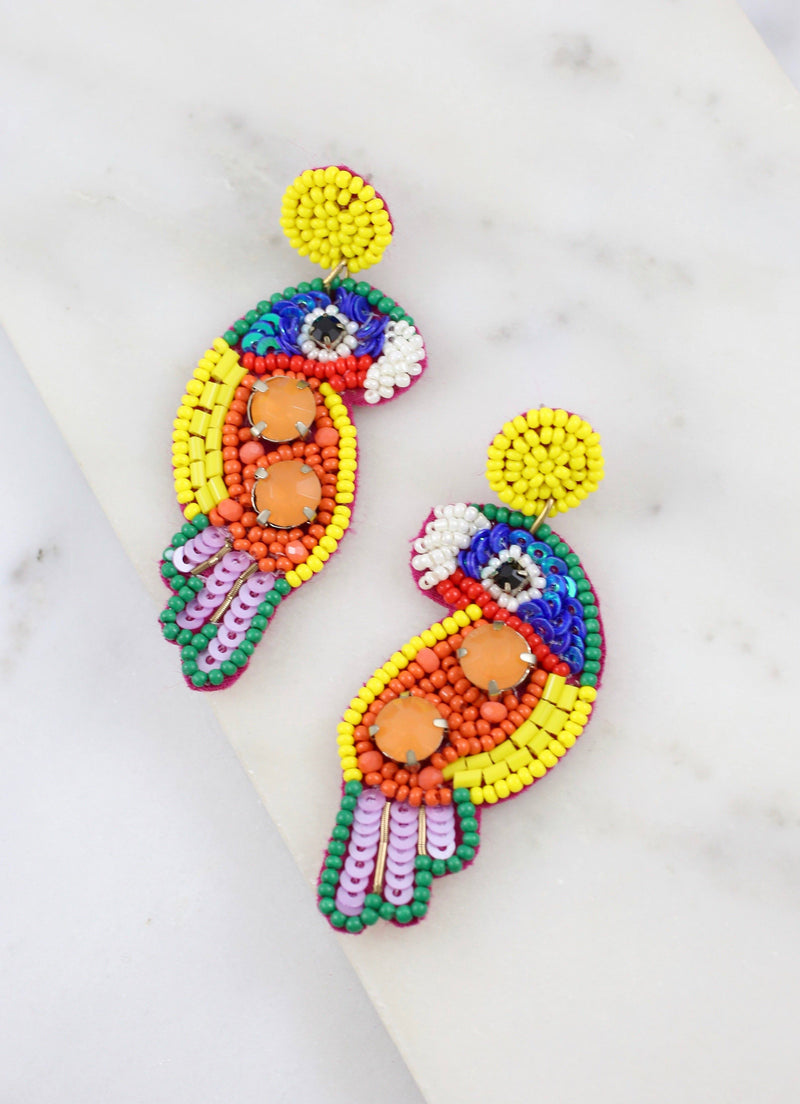 Polly Parrot Embellished Earring Multi - Caroline Hill