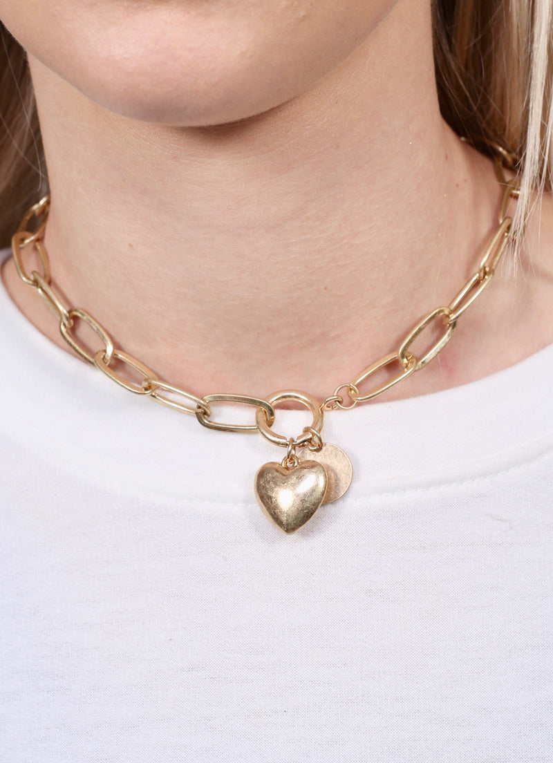 Popey Gold Heart Toggle Necklace - Caroline Hill