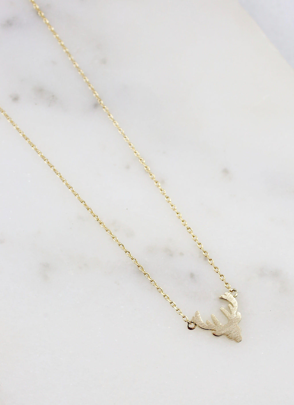Prancer Gold Deer Necklace - Caroline Hill