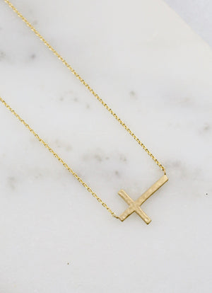Pray Gold Cross Necklace - Caroline Hill