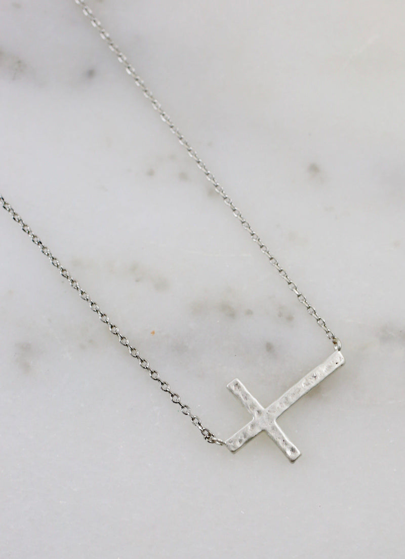 Pray Silver Cross Necklace - Caroline Hill
