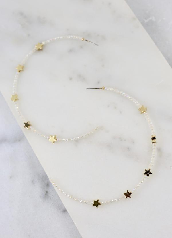 Preston Ivory Glass Bead And Star Hoop - Caroline Hill