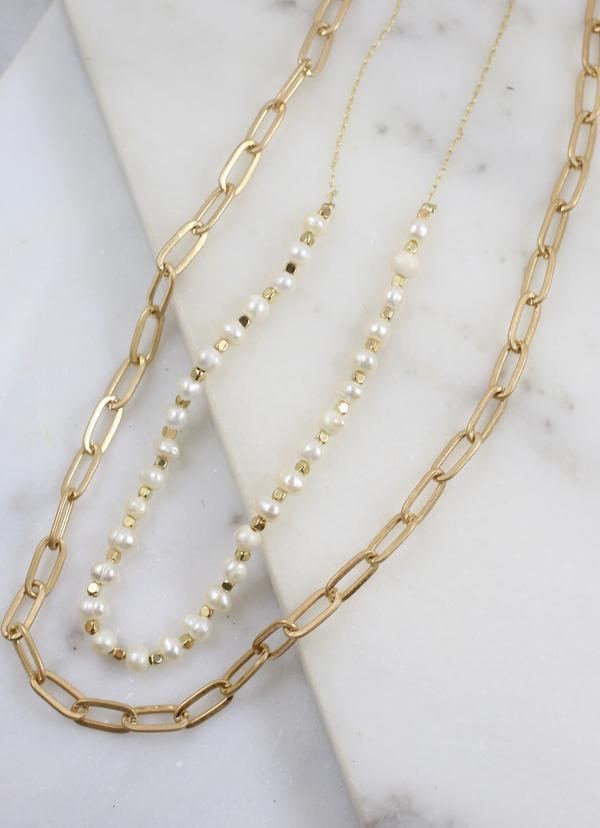 Preston Layered Link Necklace With Pearls Pearl - Caroline Hill