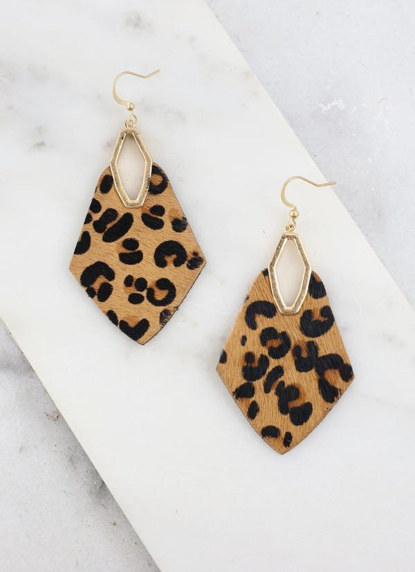 Princessa Brown Leopard Print Earring - Caroline Hill