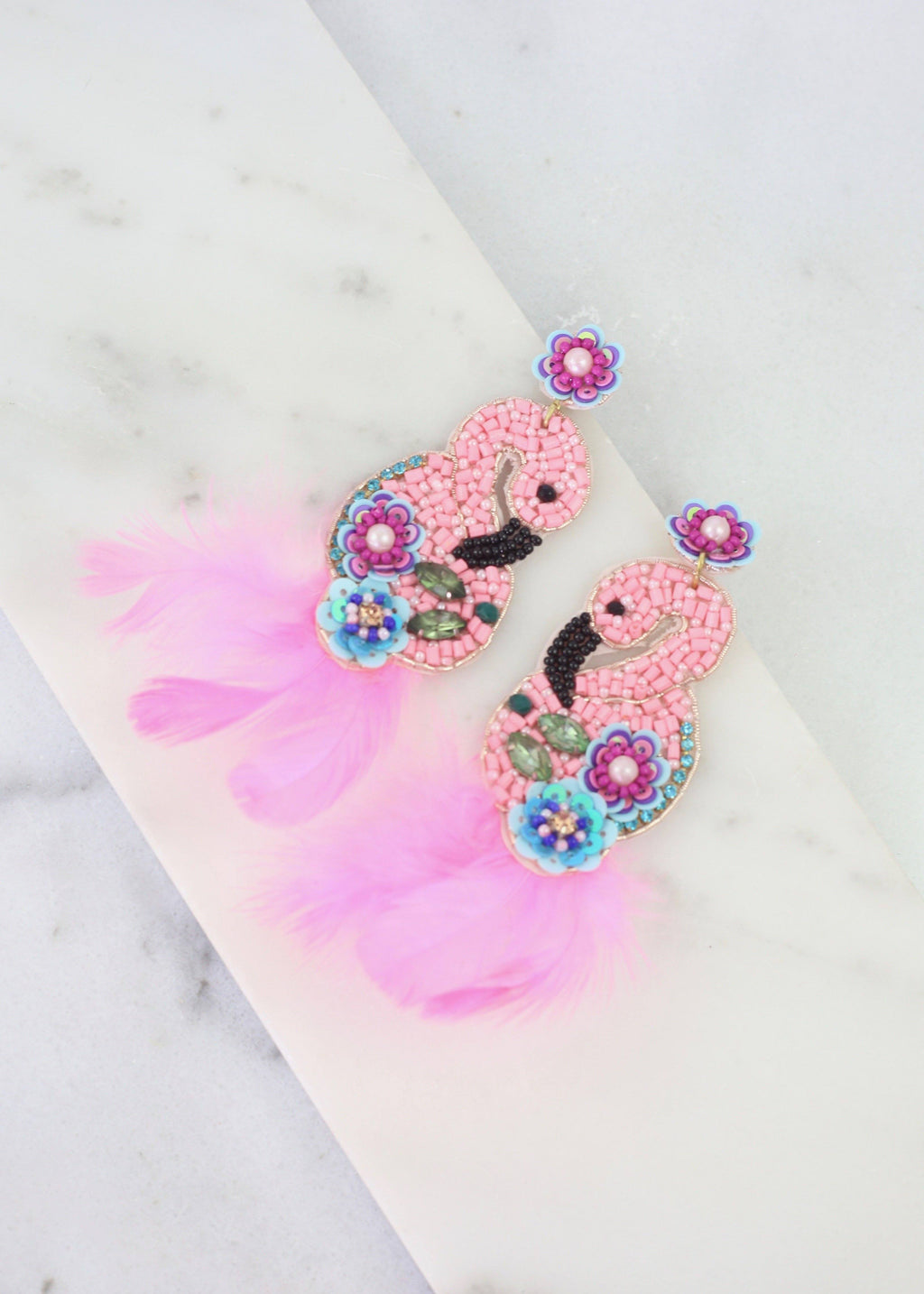 Princessa Light Pink Feather Flamingo Earring - Caroline Hill