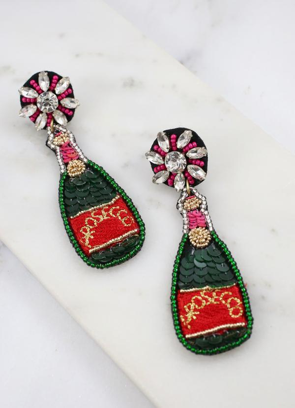 Prosecco Bottle Embellished Earring Green - Caroline Hill