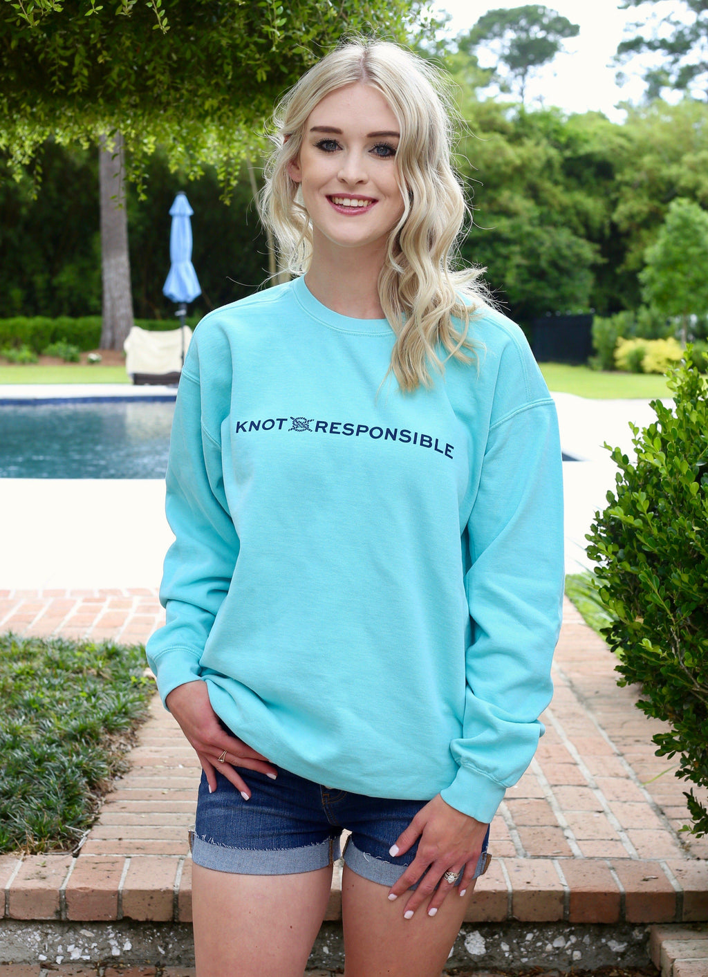 Pullover Crew Neck Sweatshirt- Mint/ Navy - Caroline Hill