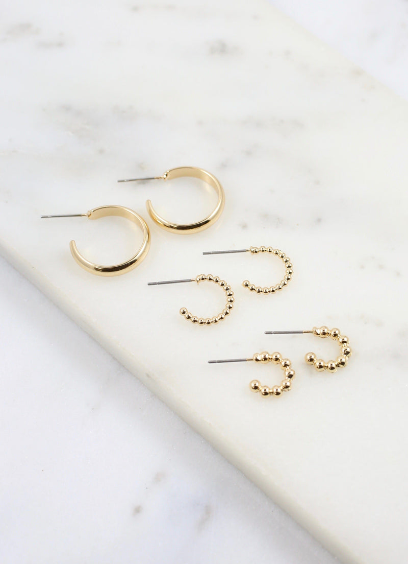 Rachelle Set of Three Gold Hoops - Caroline Hill