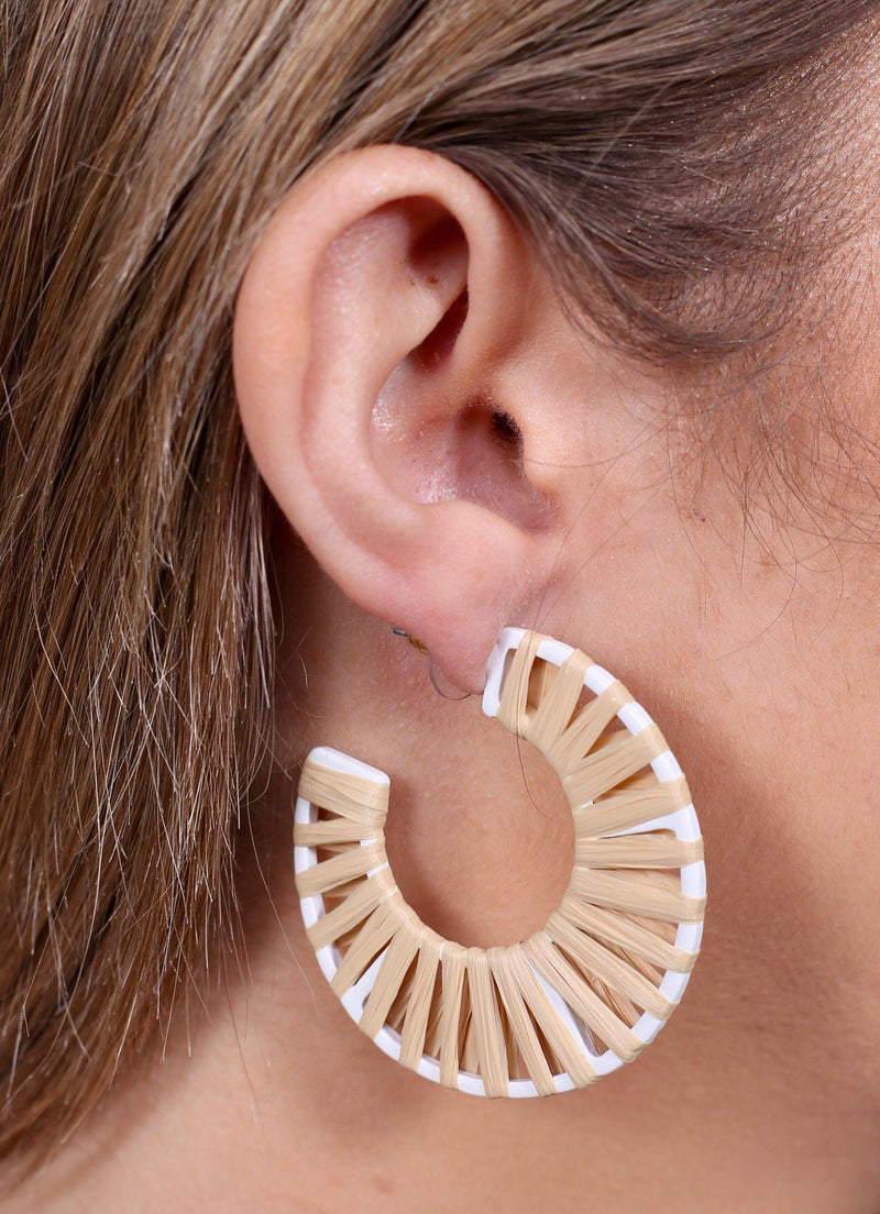 Railey Raffia Natural Hoop - Caroline Hill
