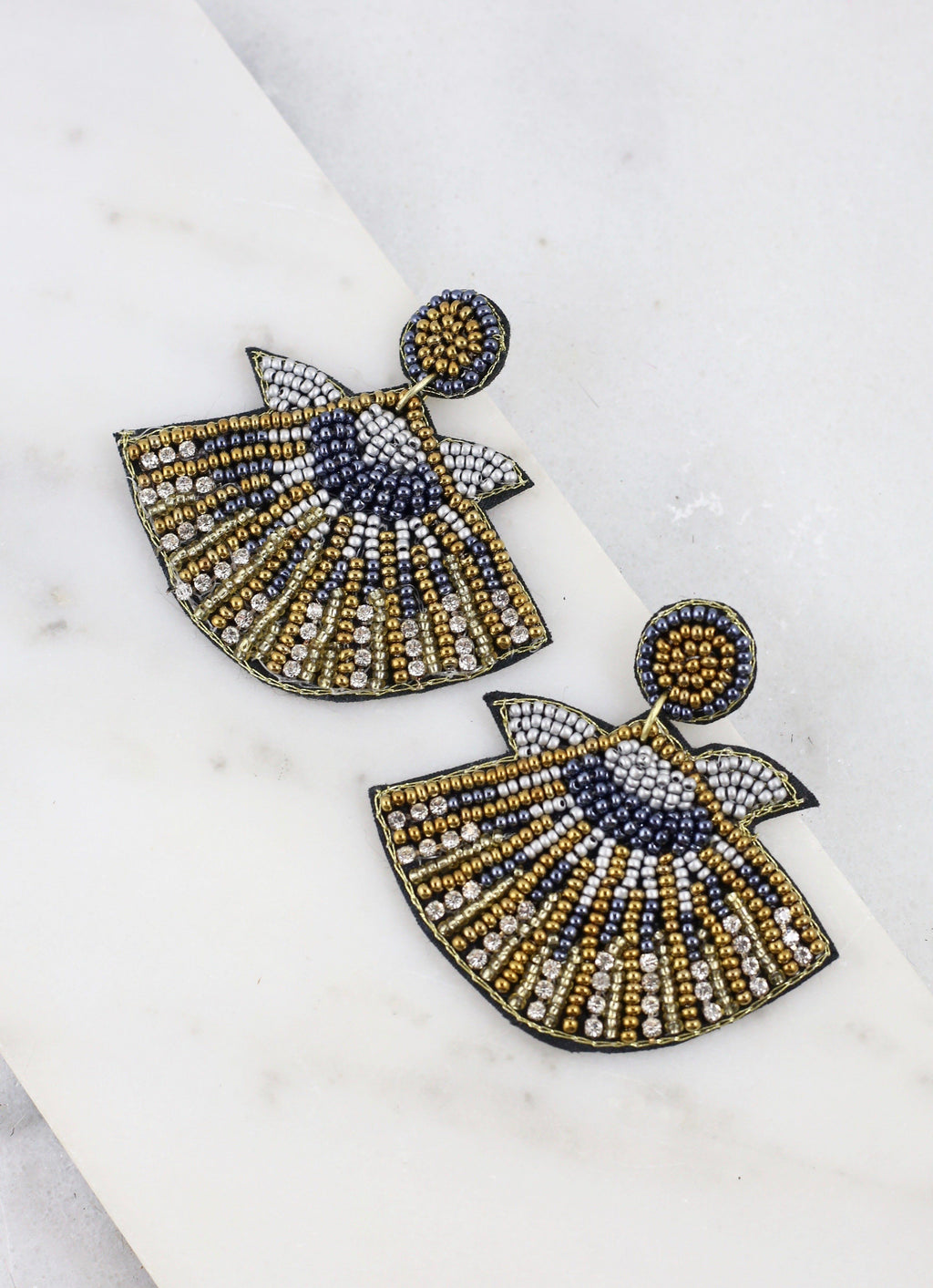 Ramirez Gray Beaded Shell Earring - Caroline Hill