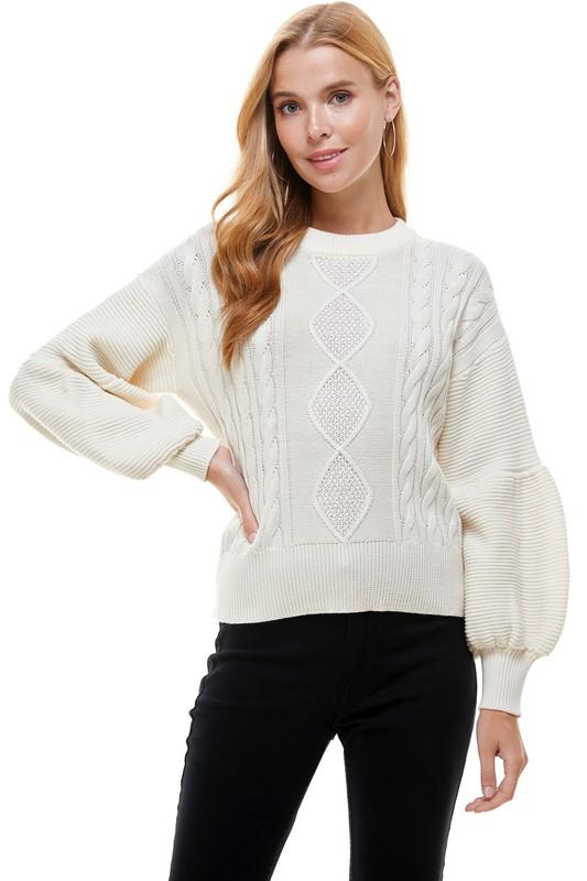 Ready to Run Cream Cable Knit Sweater - Caroline Hill