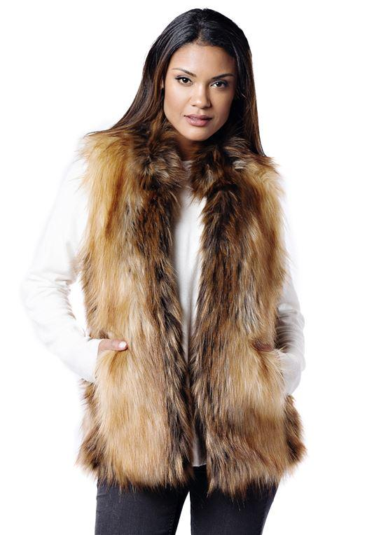 Red Fox Faux Fur Vest by Fabulous Furs- Medium - Caroline Hill