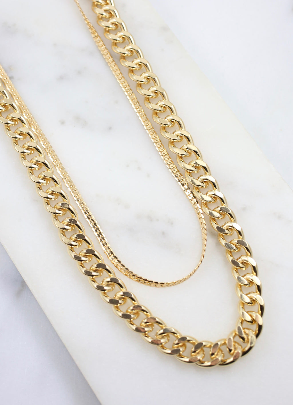 Redbone Double Layer Link Necklace Gold - Caroline Hill