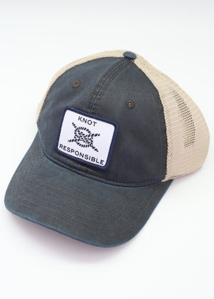 Relaxed Trucker Hat Classic Logo- Washed Navy - Caroline Hill