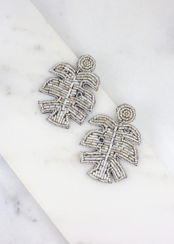Remi Palm Leaf Earring Silver - Caroline Hill