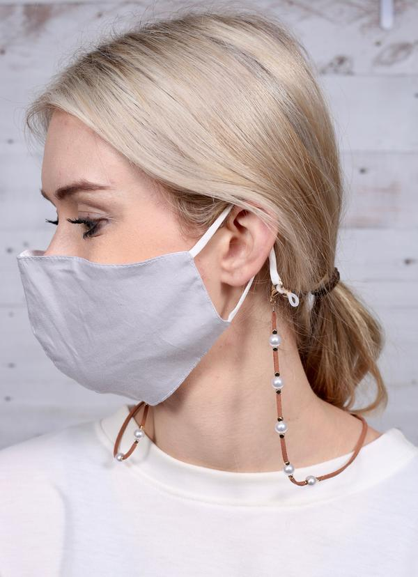 Rhodes Suede And Pearl Mask Chain Brown - Caroline Hill