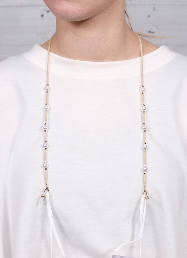 Rhodes Suede And Pearl Mask Chain Natural - Caroline Hill