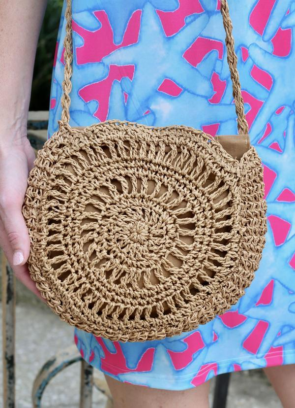 Riggins Round Straw Crossbody - Caroline Hill