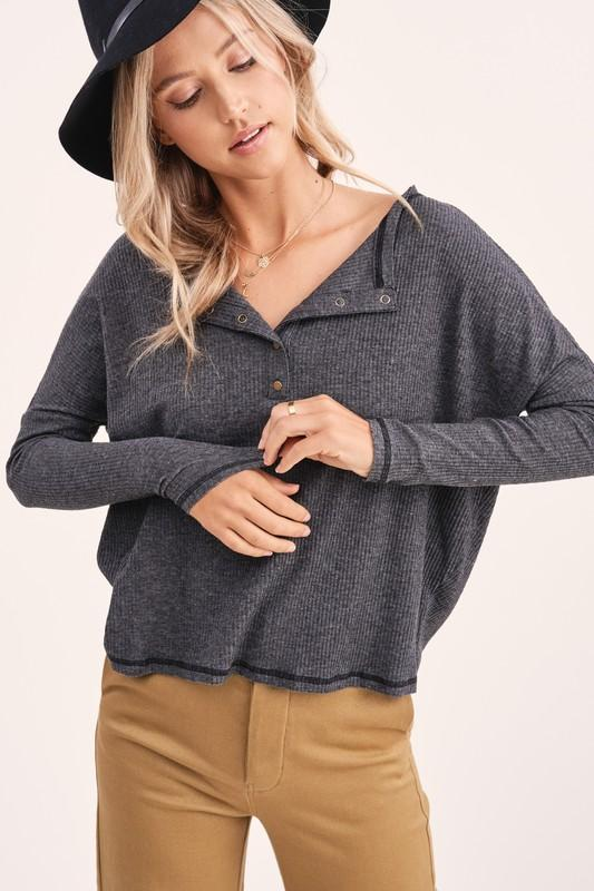 Riley Charcoal Ribbed Top - Caroline Hill