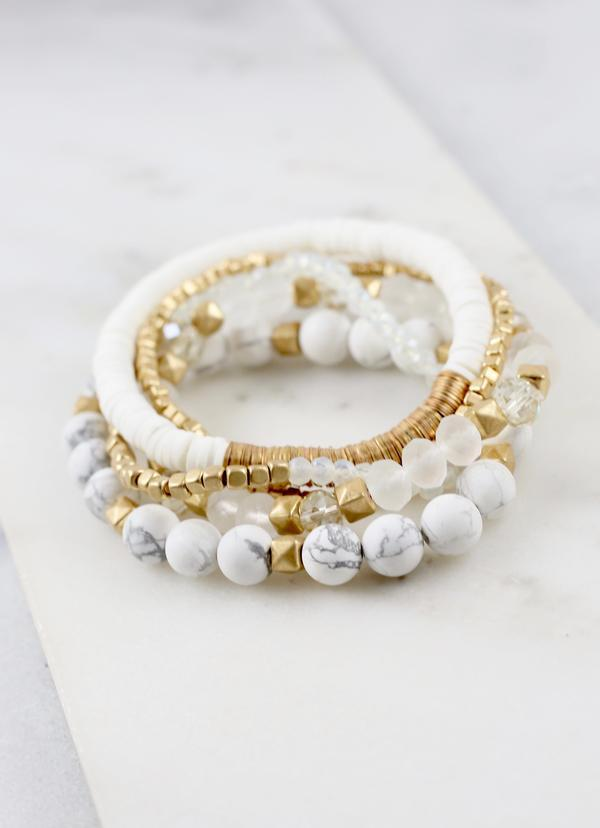Rivers White Mixed Bead Stretch Bracelet - Caroline Hill