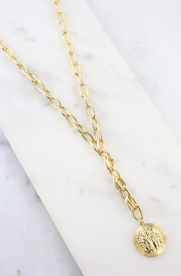 Roma Chain And Coin Necklace Gold - Caroline Hill