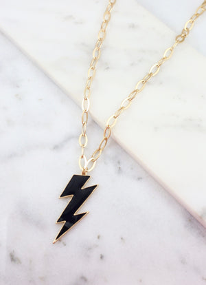 Ronan Black Enamel Lightning Bolt Necklace - Caroline Hill