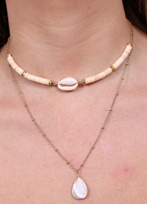 Rooted Double Layered Natural Shell Necklace - Caroline Hill