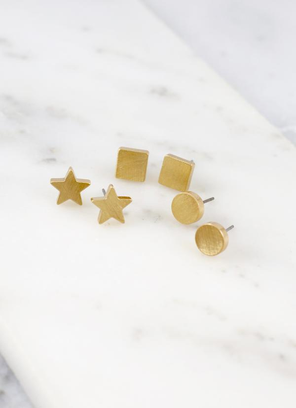 Roster Set of Three Gold Scratch Metal Studs - Caroline Hill