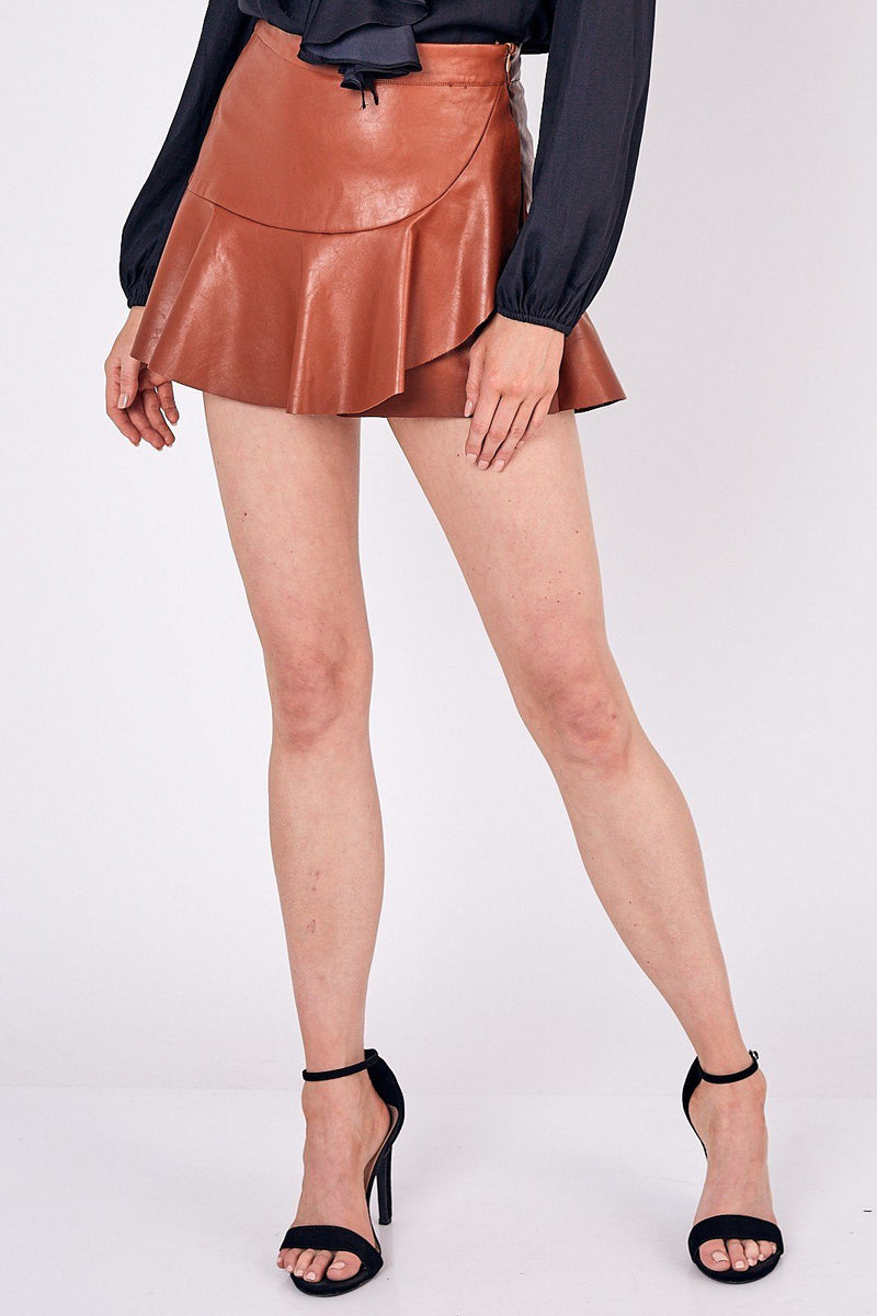 Ruffle Faux Leather Camel Skort - Caroline Hill