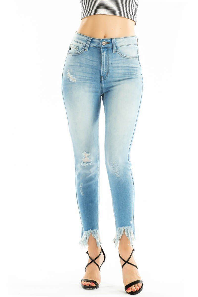 Sadie Frayed Light Wash Denim - Caroline Hill