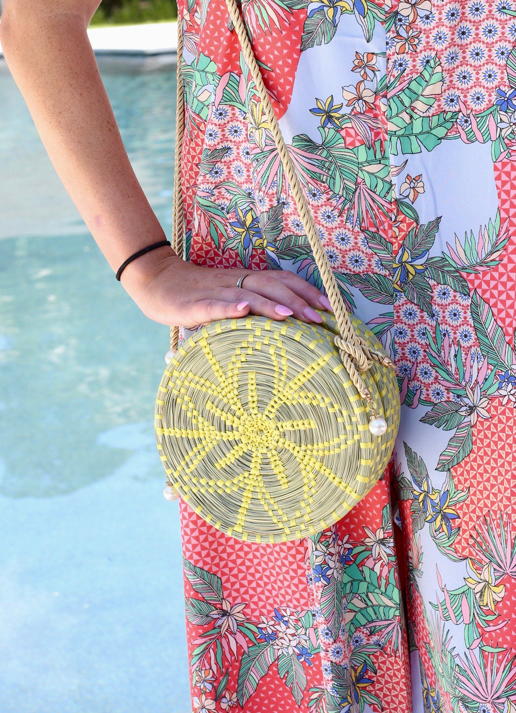 Sahara Round Yellow Straw Crossbody - Caroline Hill