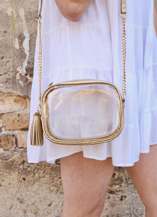 Sampson Gold Hologram Snake Clear Crossbody - Caroline Hill
