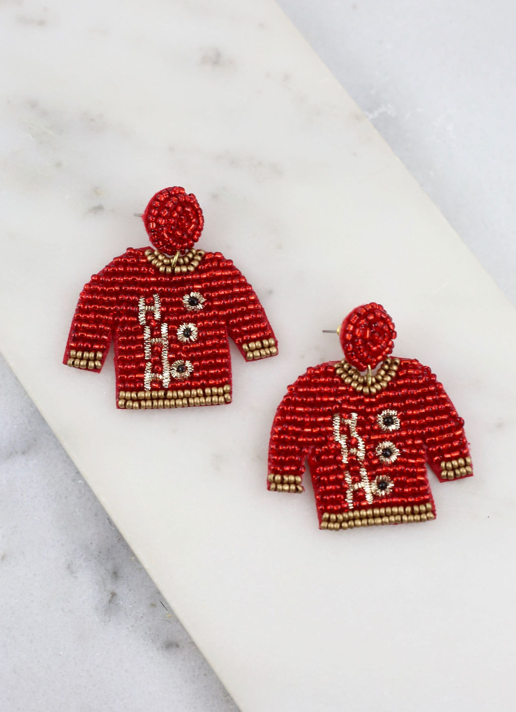 Santa's Favorite Christmas Sweater Earring Red - Caroline Hill