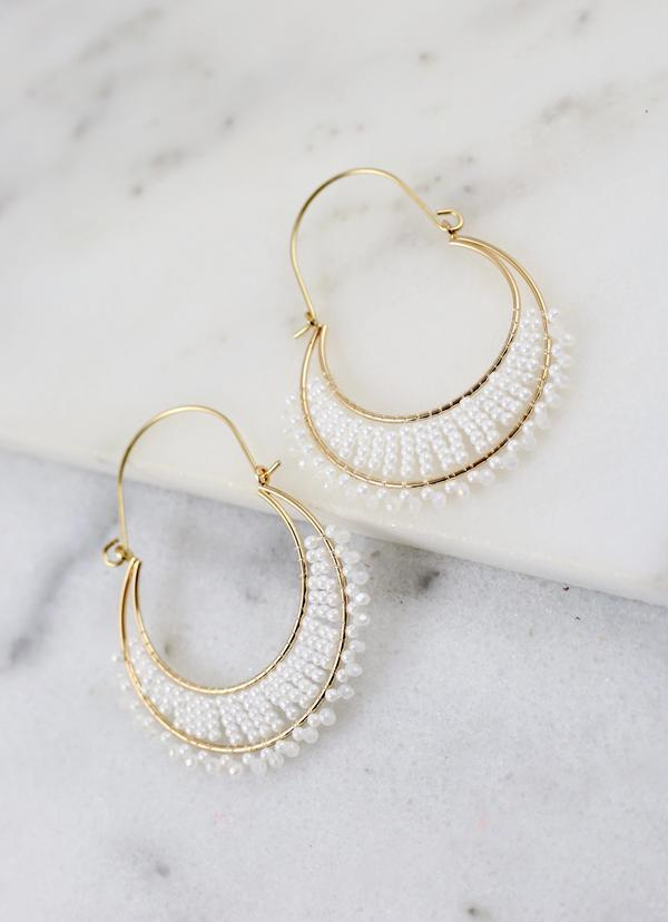 Sardis White Beaded Threader Earring - Caroline Hill