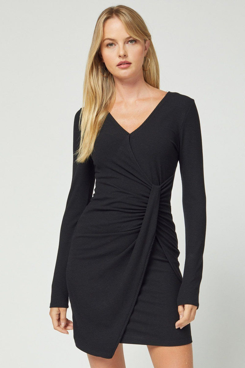 Sassy Twist Black Dress - Caroline Hill