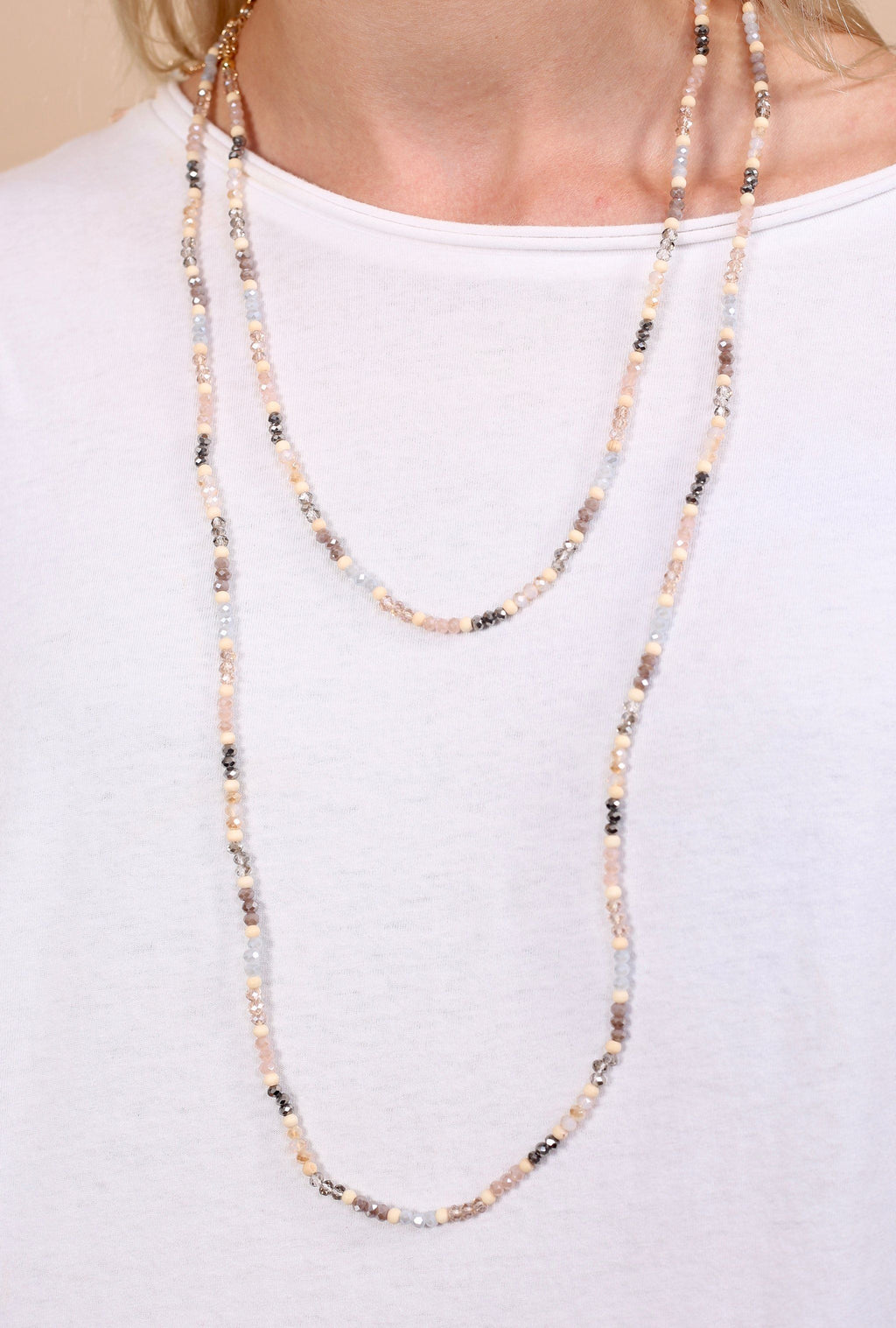 Sawyer Long Natural Beaded Necklace - Caroline Hill